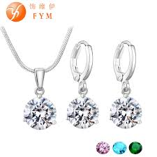 bridal wedding necklace set images 19 colors promotion new silver color necklace stud earring jewelry jpg
