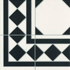 black and white octagon effect floor tile corner