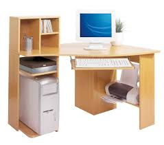 corner natural solid wood computer table with cd storage rack and