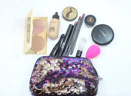 the travel makeup bag and some tips caked to the nines