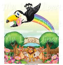 clipart of a toucan bird with a flower and rainbow over zoo