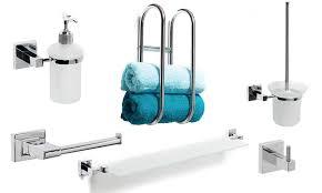 square bathroom accessories chrome interior design
