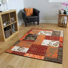 Laminate Flooring Ebay New Warm Red Orange Modern Patchwork Rugs Small Large Living Room