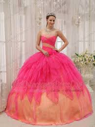 coral quince dress coral gown strapless floor length organza beading quinceanera