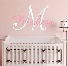 Wall Decals For Girl Nursery by Nursery Custom Name And Initial Wall Decal Sticker 23 U2032 W By 17 U2032 H