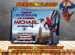 spiderman homecoming personalized invitationspiderman