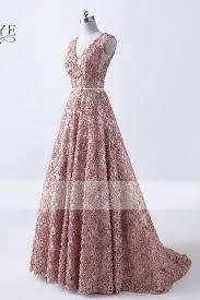 formal wedding dresses 2018 new design 3d flower v neck evening dress golden belt