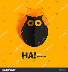owl halloween background owl cut paper icon halloween flat stock vector 217966444