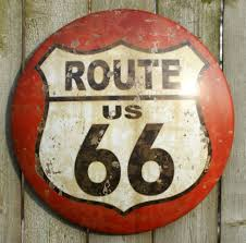 route 66 tin metal round sign rt country vintage style kitchen red