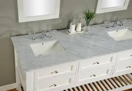 prefab white carrera marble vanity top with undermount porcelain