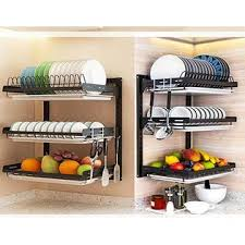 vegetable storage kitchen cabinets whifea 3 tier dish drying rack stainless steel fruit
