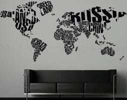 Etsy World Map by 40 World Wall Decal Wanderlust Travel Quote World Map Wall Art