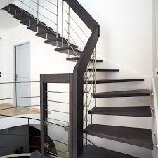 half turn staircase wooden steps metal frame without risers - Treppen Meister