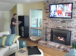 home decor simple mounting tv on brick fireplace decorating