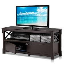 Electronics Storage Cabinet Tv Unit Topeakmart Wood Tv Stand Unit With 2 Doors Storage