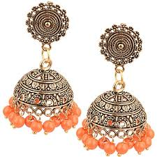 metal earings aelo antique oxidised orange pearl german silver gold plated black