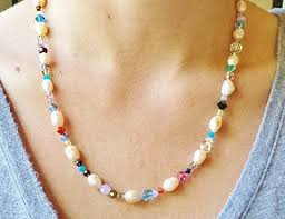 traditional 30th anniversary gift modern cultured freshwater pearl rainbow necklace a