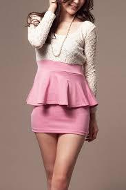 pink lace splicing long sleeve peplum dress long sleeve dresses