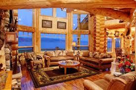 log homes interiors wonderful luxurious log home interiors using large fixed glass