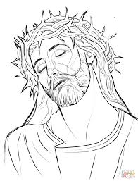 christ with a crown of thorns coloring page free printable
