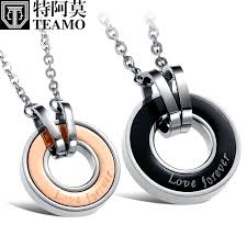 titanium black necklace images Teamo his and hers necklaces rose gold black disc pendants jpg