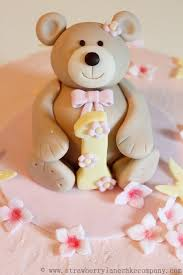buttercream teddy bear 1st birthday cake cake by strawberry lane