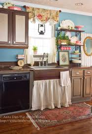Lace Cafe Curtains Kitchen by Far Above Rubies Muslin And Lace Sink Skirt And Cafe Curtains