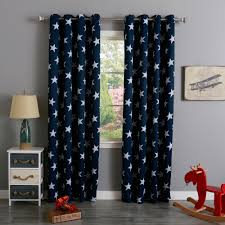 Outer Space Curtains Kids by Aurora Home Room Darkening Big Star Print Silver Grommet Top