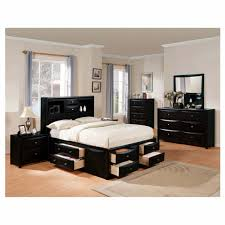 queen size bedroom set with storage black painted mahogany wood captains bed frame mixed classic table