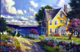 houses seaside village randy van beek flowers gardens ocean