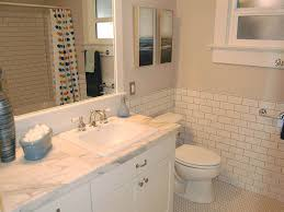 wonderful subway tile wainscoting bathroom images design ideas