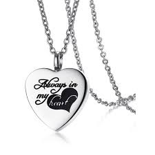 ashes necklace always in my heart pendant ashes necklace in silver twinkledeals