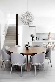 nailhead dining chairs dining room contemporary with white kitchen