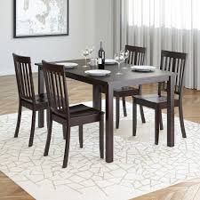 corliving atwood 5 piece dining set with cappuccino stained chairs