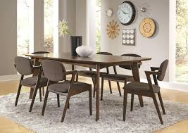 coaster malone mid century 7 piece dining room set in dark walnut