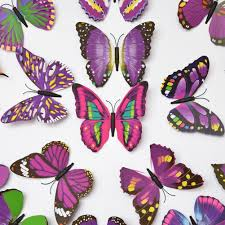 amazon com elecmotive 12 purple 12 blue 3d butterfly stickers