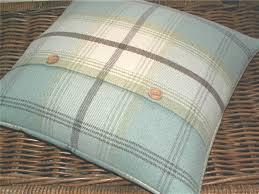 Bedroom Ideas Using Duck Egg Blue Wool Mix Tweed Plaid Tartan Cushion Throw Pillow Cover