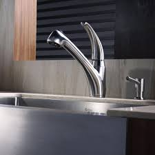 kraus single handle stainless steel pull out kitchen faucet with