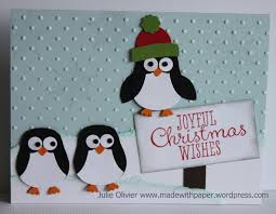 nablopomo day 26 penguin card made with paper