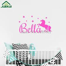 Baby Name Decor For Nursery Custom Baby Name Wall Sticker With Unicorn And Boys