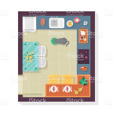 kitchen floor plan top view furniture set for interior design