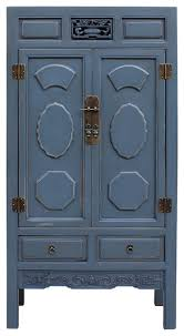 Tall Armoire Furniture Chinese Distressed Gray Blue Lacquer Tall Armoire Storage Cabinet