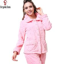 winter beautiful solid coral fleece pajamas sets