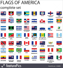 Flags American Illustration Of American Continent Flags