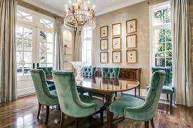 Aqua Dining Room Tufted Upholstered Aqua Blue Chairs And Wooden Table In A Formal