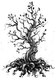 grey and black tree design