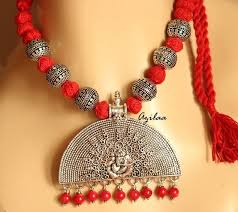 red necklace earrings set images Ganesha red handmade gemstone necklace earring set at 3250 azilaa jpg