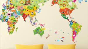 Maps For Kids Kids World Map Sticker For Kids Room Youtube