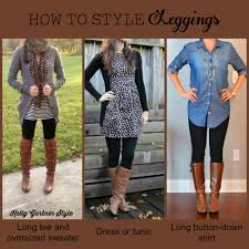 chambray blouse leggings and boots we love this for fall