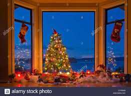 christmas tree with lights christmas tree with lights decorations gifts in a window at dusk the
